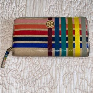 Authentic Tory Burch MultiColor leather zip wallet